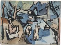 <em>Bathers, Motueka River</em>, 1943