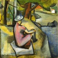 <em>Woman on riverbank</em>, 1943