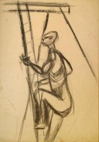 <em>[Linesman climbing power pole]</em>, 1947